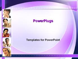 PowerPoint template displaying businesswomen with headsets in the background.