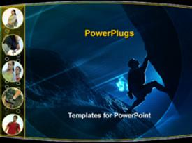 PowerPoint template displaying sports rock climbing bouldering hiking night camping adventures journey trips travel