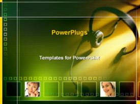 PowerPoint template displaying customer service representatives in the background.