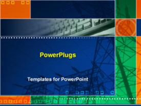 PowerPoint template displaying electric poles in the background.