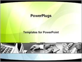 PowerPoint template displaying fading depictions of business gadgets in the background.
