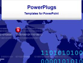 PowerPoint template displaying futuristic world map with binary codes - ones and zeros