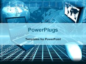 PowerPoint template displaying global communication in the background.