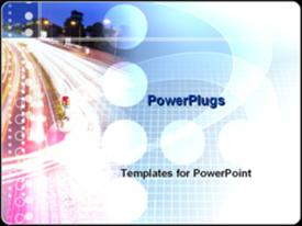 PowerPoint template displaying highway at night