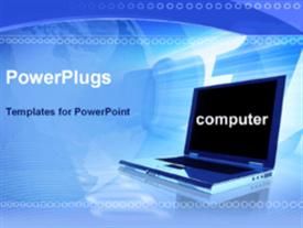 PowerPoint template displaying laptop in blue background with computer displayed on screen