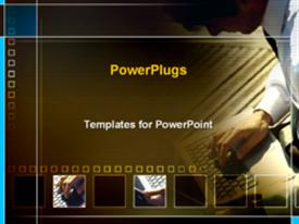 PowerPoint template displaying man typing on computer in the background.
