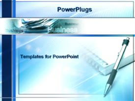 PowerPoint template displaying papers - notebook and pen in the background.