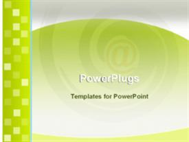 PowerPoint template displaying email symbol blurred in background with abstract animated squares