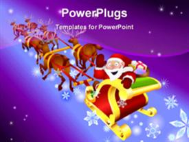 PowerPoint template displaying santa is going in Christmas season over blue and purple background