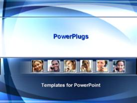 PowerPoint template displaying smiling business people talking on phone in the background.