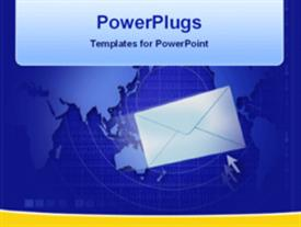 PowerPoint template displaying world wide email communication in the background.