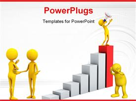 PowerPoint template displaying personage with megaphone and graph. 3D depiction in the background.