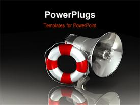 PowerPoint template displaying silver megaphone with red and white lifesaver over reflective background
