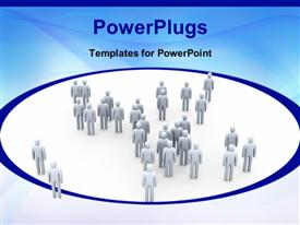 PowerPoint template displaying lots of 3D characters on a white colored background