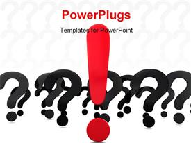 PowerPoint template displaying abstract 3D questions and answer metaphor in the background.