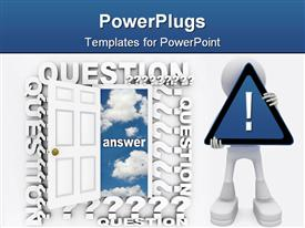 PowerPoint template displaying a large white colored door with lots of texts and a white human character holding up an exclamation mark