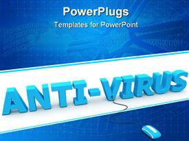 PowerPoint template displaying 3D anti-virus word with mouse connected to v letter and binary codes on network blue background