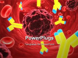 PowerPoint template displaying microscopic view of lots of red blood cells and antibodies