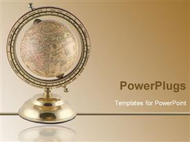 PowerPoint template displaying gold colored earth globe on a stand on a brown background