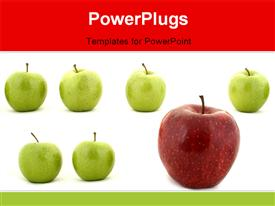 PowerPoint template displaying line of green apples and one red apple in the background.