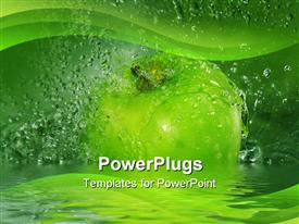 PowerPoint template displaying large green apple with water drops all around it