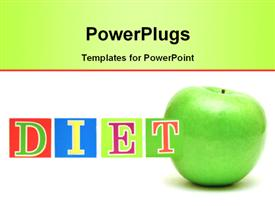 Green apple and cubes with letters in front of a white background - diet powerpoint theme