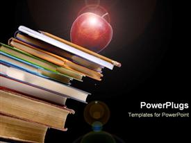 Apple sits precariously on top of a pile of books template for powerpoint