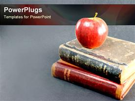 Apple on stack of books presentation background