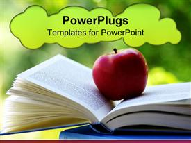 Red apple on a book of blue color template for powerpoint