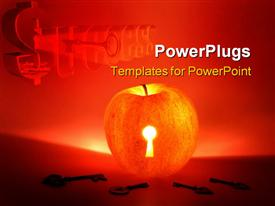 PowerPoint template displaying apple with keyhole and keys concept shot in the background.