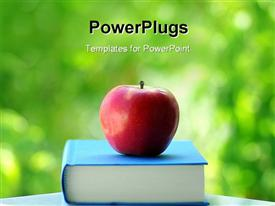 Red apple on a book of blue color powerpoint theme