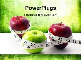 3 multi-colored Apples surrounded with measuring tape template for powerpoint