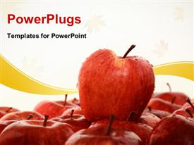 Red apple on another apple powerpoint template