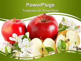 Red apples with green leaves and flowers powerpoint theme
