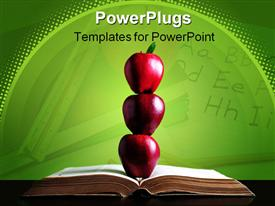 Three red apple in balance on open book powerpoint template