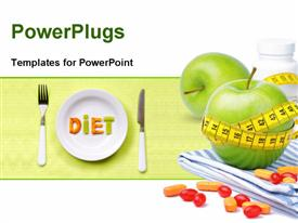 Green apples vitamins and measuring tape. Diet concept presentation background
