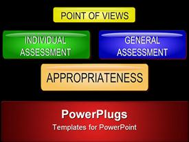 PowerPoint template displaying concept of appropriateness and sustainability assessment buttons in the background.