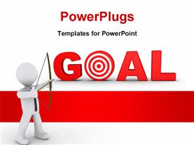 Businessman as an archer is aiming at a red goal target powerpoint theme