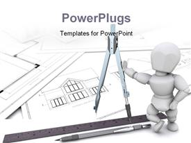PowerPoint template displaying 3D man stands on architectural drawing with construction equipments