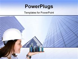 PowerPoint template displaying architect woman with hard hot holding buildings, skyscraper background