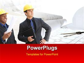 PowerPoint template displaying a umber of engineers with a construction design in background