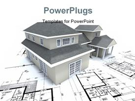 PowerPoint template displaying grey building over architectural blueprint and plan