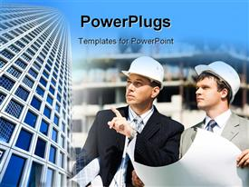 PowerPoint template displaying two architects holding building blueprints in construction site with office buildings