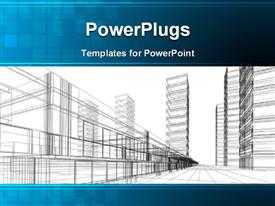 PowerPoint template displaying an abstract architectural drawing of some sky scrappers and rails