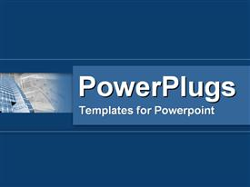 PowerPoint template displaying plain blue background with bar showing skyscraper