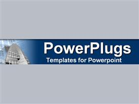 PowerPoint template displaying view from base of high rise on blue and gray background