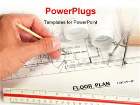 PowerPoint template displaying architect drawing the floor plan of a building with drawing tools