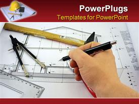 PowerPoint template displaying architects hand on a desk over blueprint of a house