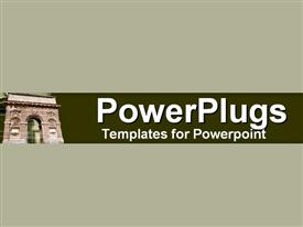 PowerPoint template displaying depiction of a plain grey background with a house