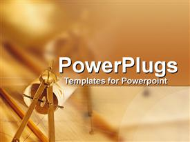 PowerPoint template displaying close-up of professional architecture desk in the background.